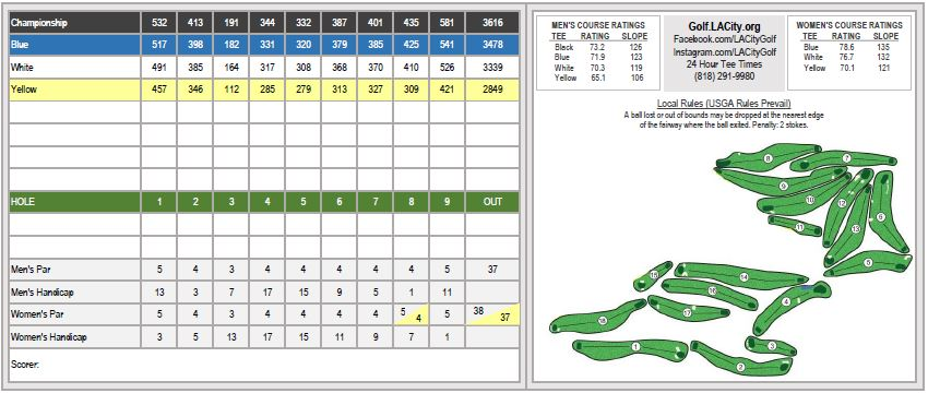 Wilson Golf Course scorecard inside