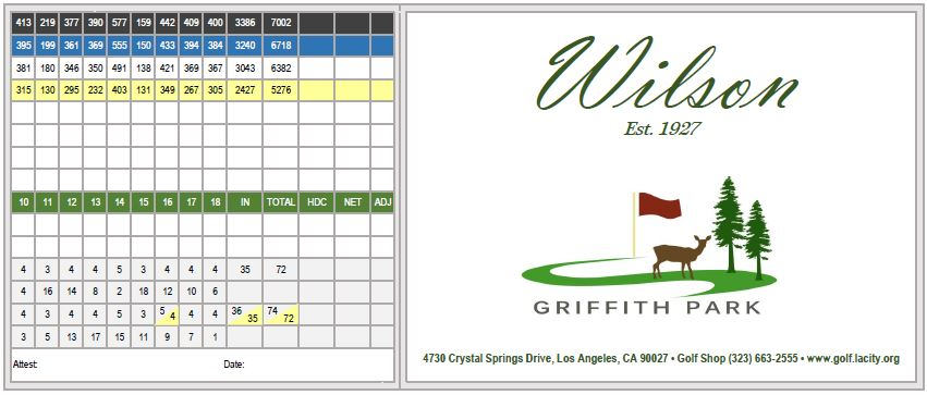 Wilson Golf Course scorecard outside