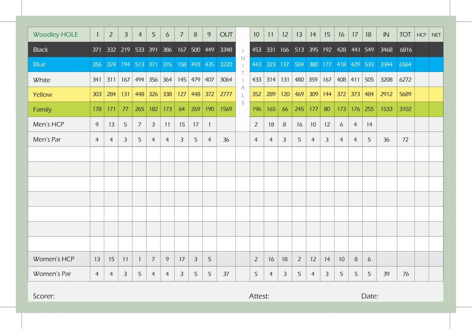 Woodley Lakes Golf Course scorecard inside