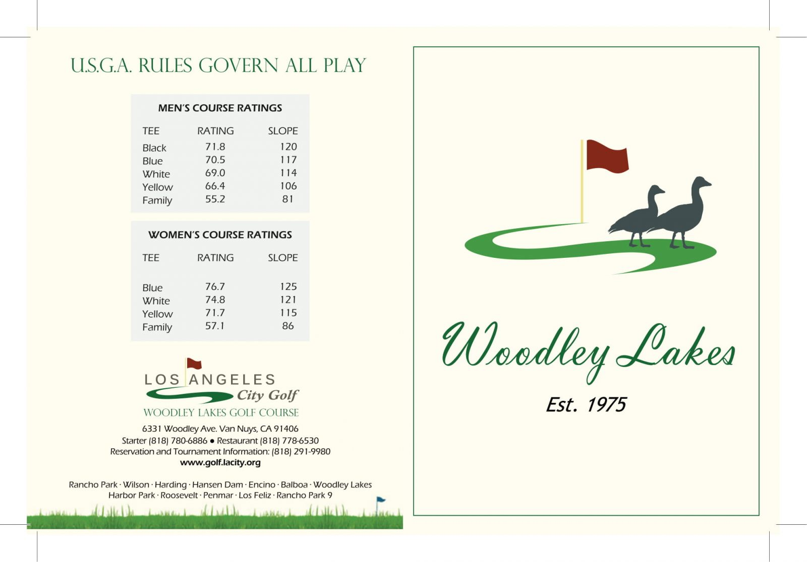 Woodley Lakes Golf Course scorecard outside